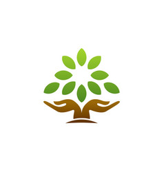 tree hand logo wellness symbol icon design vector image