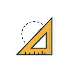 Triangle ruler work tools engineering icon vector