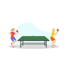 two girls playing table tennis game people doing vector image