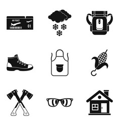 Unforgettable vacation icons set simple style vector