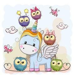 Unicorn and owls vector