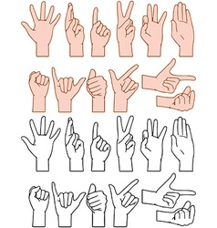 Universal Hand Signs Gestures vector image