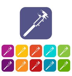 Vernier caliper icons set flat vector
