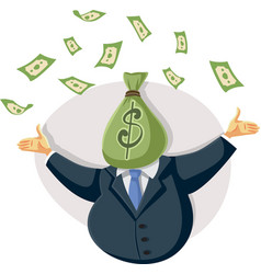wealthy rich businessman throwing with money vector image