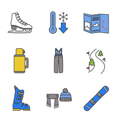 winter activities color icons set vector image