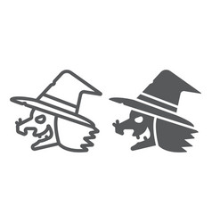Witch line and glyph icon magic and halloween vector