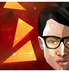 with an asian man face in polygonal style modern vector image