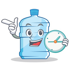With clock gallon character cartoon style vector