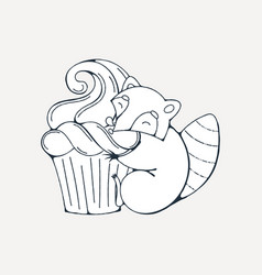 With cute raccoon with cupcakes vector