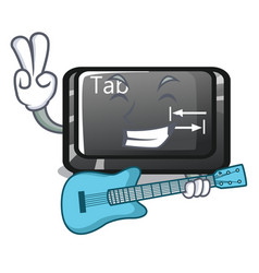 With guitar tab button attached to cartoon vector