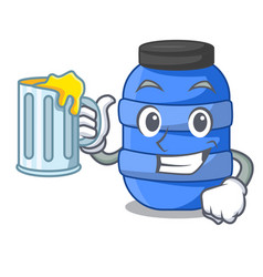 with juice cartoon plastic barrel for trash dry vector image