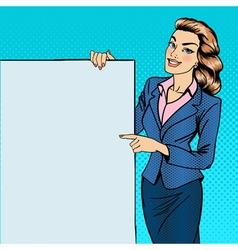 Woman Gesturing on Poster Advertising Pop Art vector