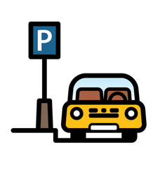 Yellow car parked at street side parking place vector