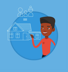 Young man drawing his family house vector