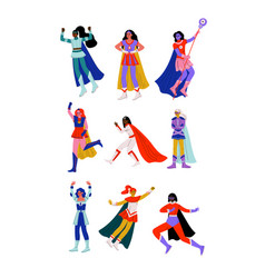 Young women in superhero costumes and capes set vector