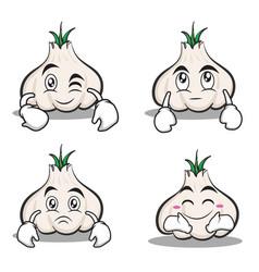 collection garlic cartoon character set vector image vector image