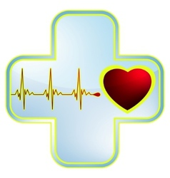 heart and healthcare symbol vector image vector image