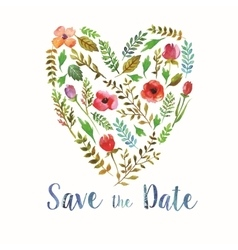 Heart of watercolor leaves wedding invitation vector image vector image