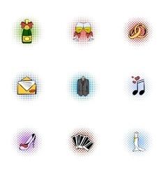 Wedding ceremony icons set pop-art style vector image vector image