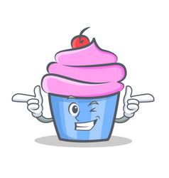 wink cupcake character cartoon style vector image
