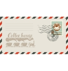 Envelope with a stamp for a coffee house vector