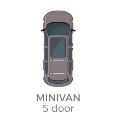 five doors minivan top view flat icon vector image vector image