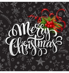 Merry Christmas lettering in chalk seamless vector image vector image