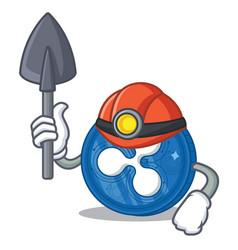 Miner ripple coin character cartoon vector
