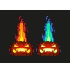 Scary pumpkin with fire vector image
