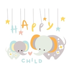 Small Elephant with Mom in vector image