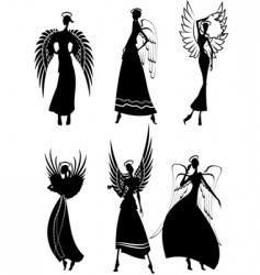 angel silhouettes vector image vector image