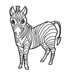 cartoon cute zebra coloring page vector image vector image