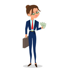 cartoon girl in a suit holds cash and case vector image