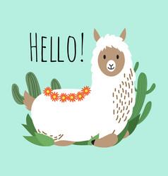 cartoon lama design - hello card with cute vector image