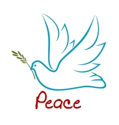 Flying dove of peace with green twig vector image