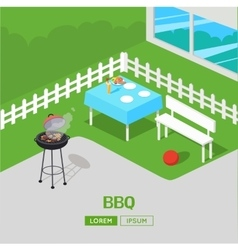House Backyard Barbecue BBQ Party Isometric vector image