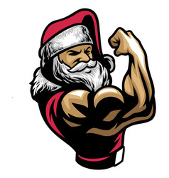 muscular santa claus show his bicep arm vector image vector image