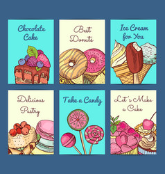 hand drawn colored sweets shop card or vector image vector image