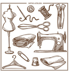 retro atelier or dressmaker tailor salon equipment vector image