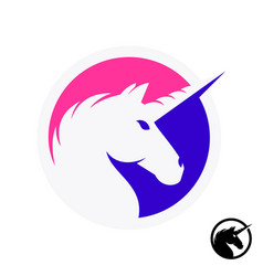 Unicorn logo with head and horn silhouette vector