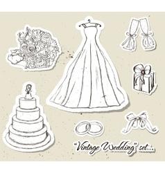 Vintage wedding set vector image