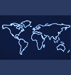 abstract world map with glowing contour vector image