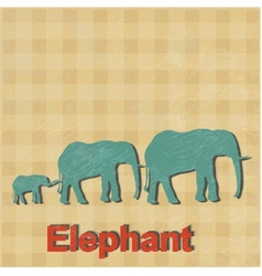 African elephants is done in a retro styl vector