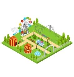 Amusement Park Isometric View vector image