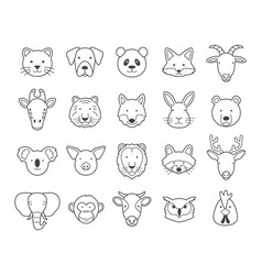 animal face outline set vector image