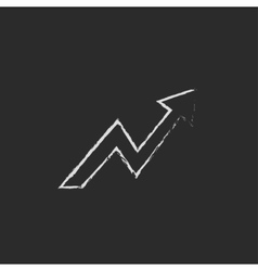 Arrow upward icon drawn in chalk vector image