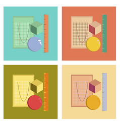 Assembly flat icons geometry lesson vector