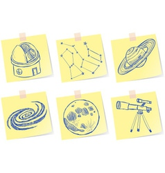 Astronomy and observatory sketches on paper notes vector