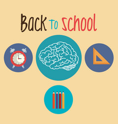 back to school label with brain storming vector image