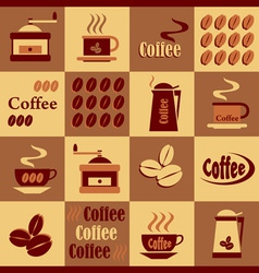 Background with coffee icons vector